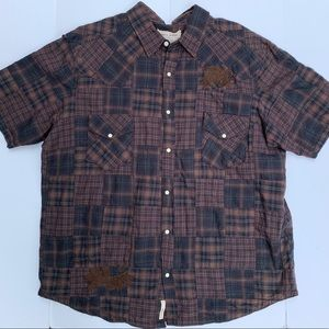 DKNY Plaid Snaps Brown Blue Western Shirt 2xl